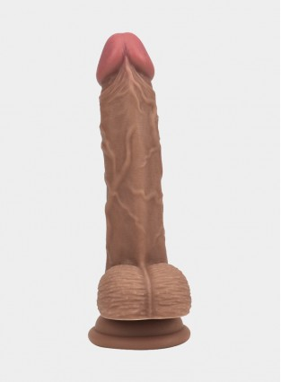 "7.5"" Realistic Brown Dildo With Balls"