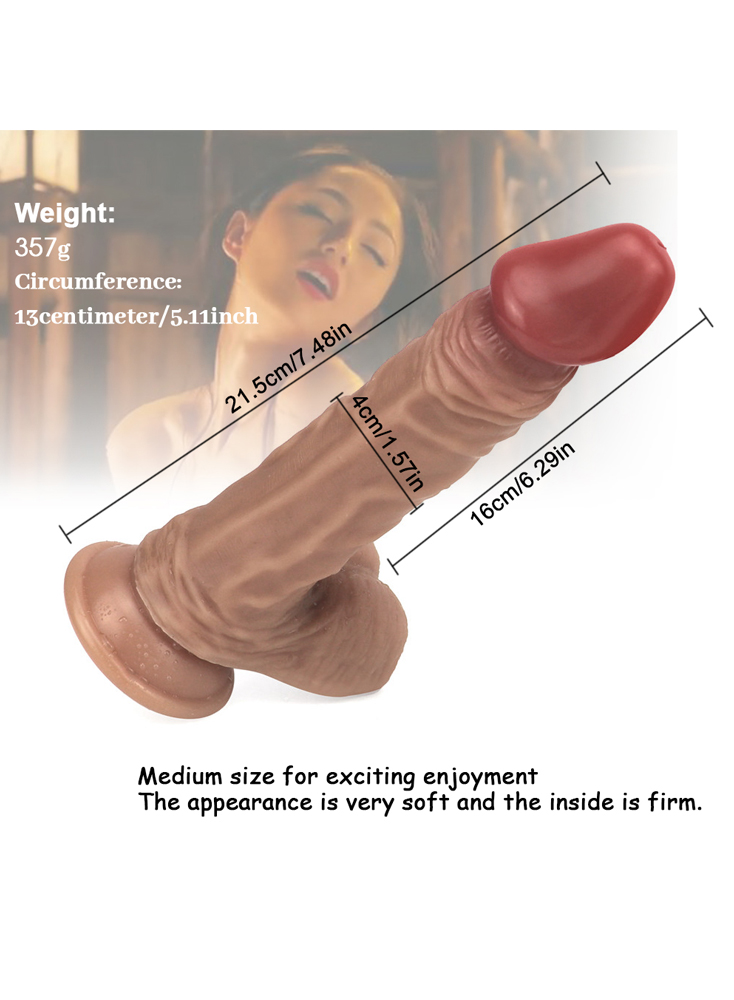 "7.5"" Realistic Veined Shaft Dildo With Balls"