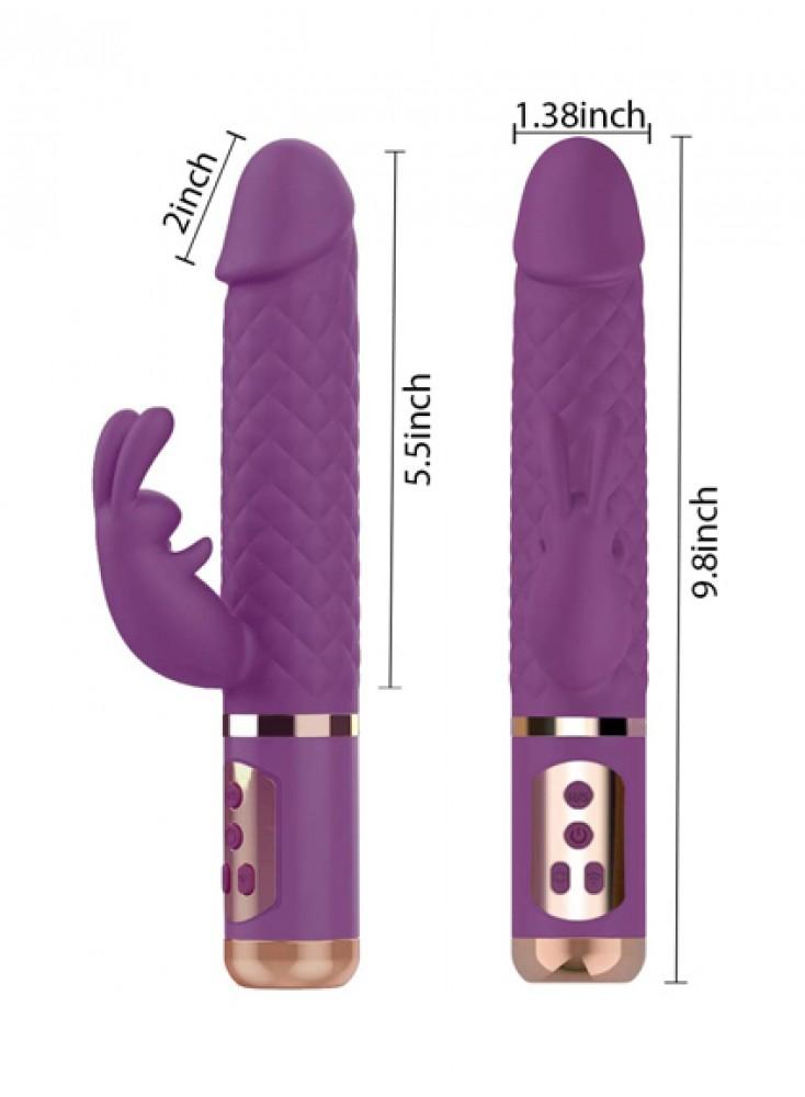 9 inch Rabbit Vibrator 360° Rotating G Spot Clitoris Stimulation Vibrating Dildo For Women Rechargeable Waterproof Vibrator