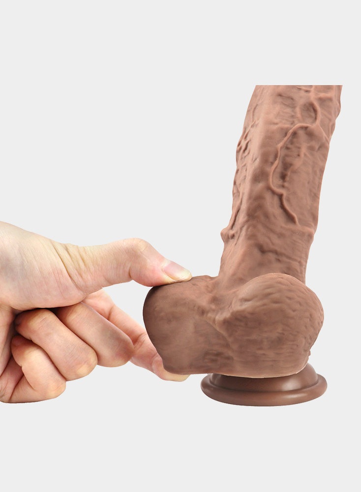 """9.3"""" Realistic Veined Texture Dong Brown/Black Dildo Cock"""