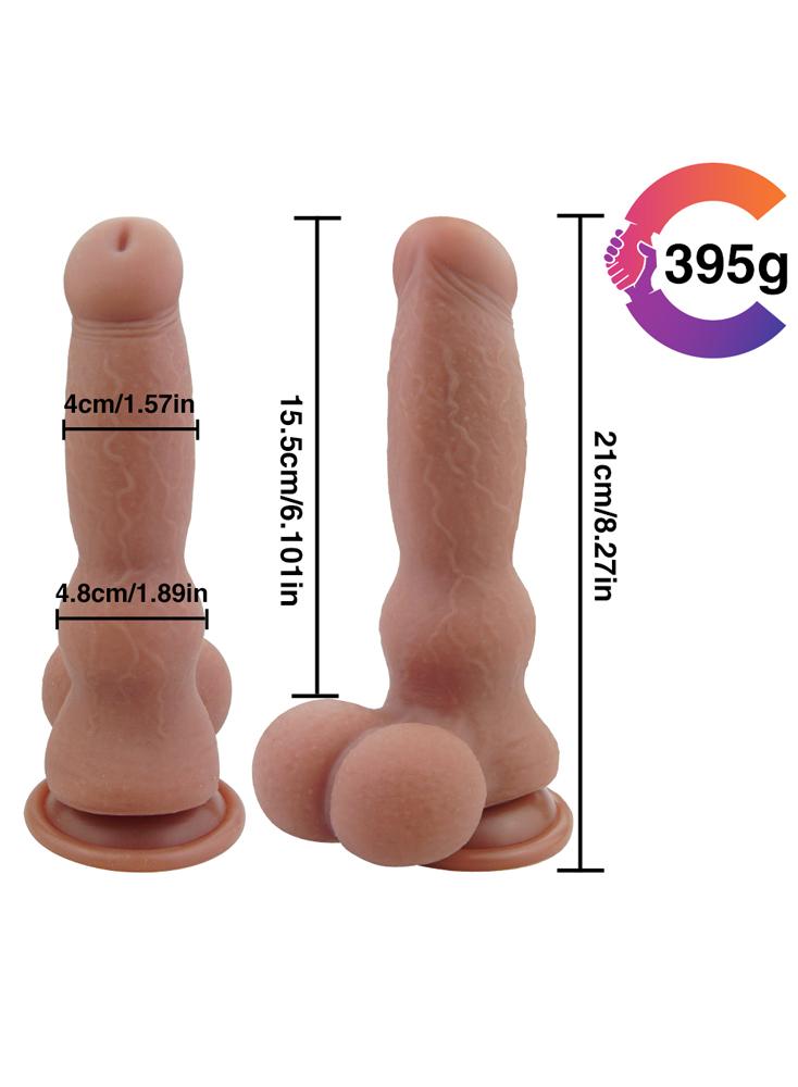 """Huge Dildo Big Animal Dog Penis 8.3"""" Soft Silicone Thick Dildo"""