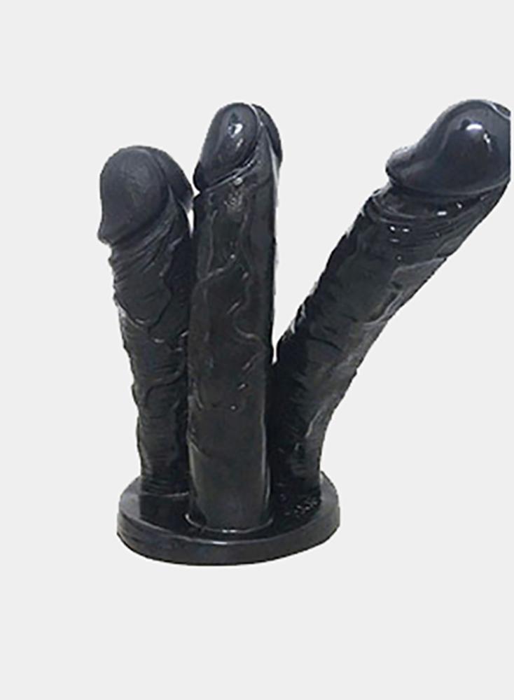 Realistic Big Dick Three Dildos Together Penis Anus Massage Lesbian Flirt