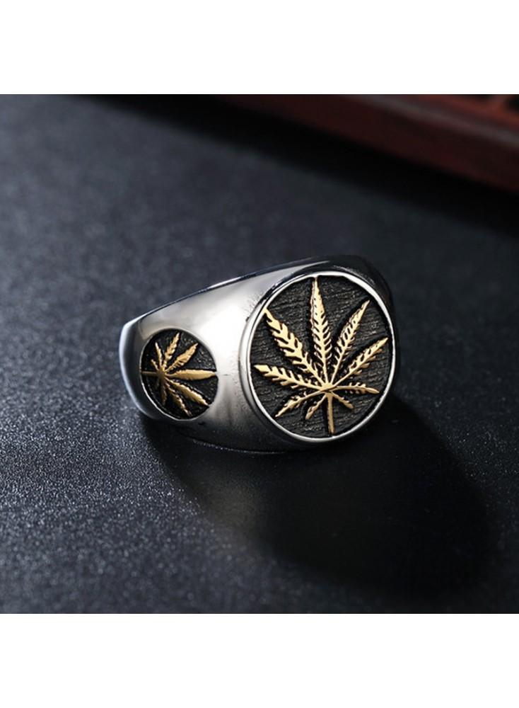 Cannabis Leaf Weed Leaf Mens Titanium Steel Vintage Ring For Weed Party