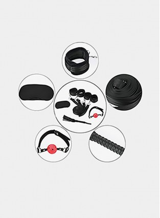 Sexy Slave Extreme 11Piece Restraints Kit Under Bed Bondage Ankle Wrist Cuff Restraint Set with Blindfold Ball Gag Whip Value Pack