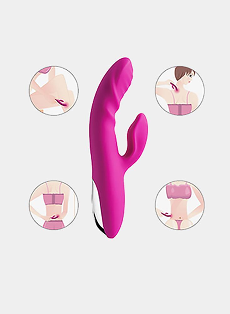 Rabbit Vibrator Rechargable GSpot Clitoris Stimulator Waterproof Dildo BodySafe Silicone Vagina Vibrating Heating Fuction Masturbator 10 Modes Red
