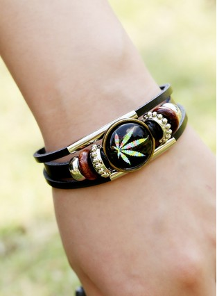 Fashion Time Gem Weed Beaded Bracelet Fashion Jewelry Hand Woven Leather Bracelet