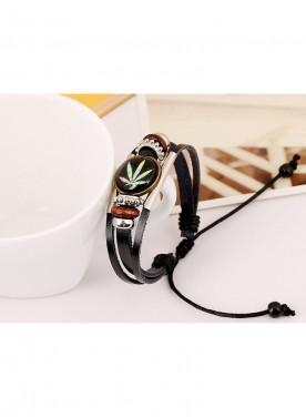 Fashion Time Gem Weed Beaded Bracelet Fashion Jewelry Hand Woven Leather Bracelet